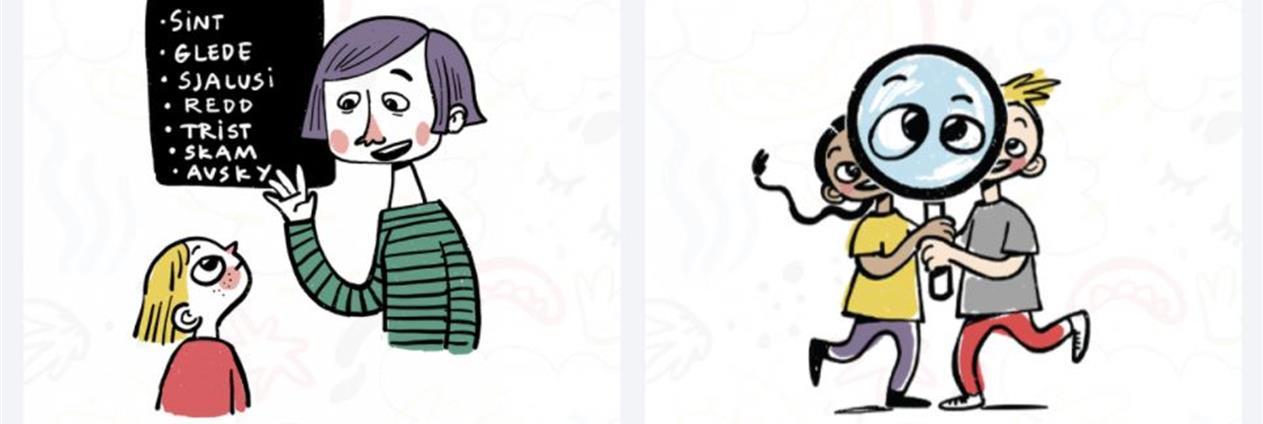 Tegning som viser voksen og barn i møte med følelser